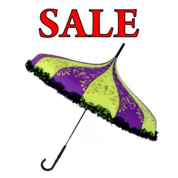 Nola Fabiola Accessories Purple Green Parasol Umbrella With Lace